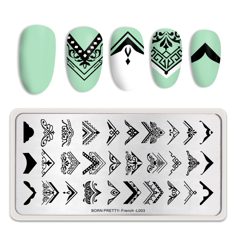 BORN PRETTY Rectangle Stamping Plate French Styles Colorful Painting Plate Stamp Template Nail Art Accessories Designs