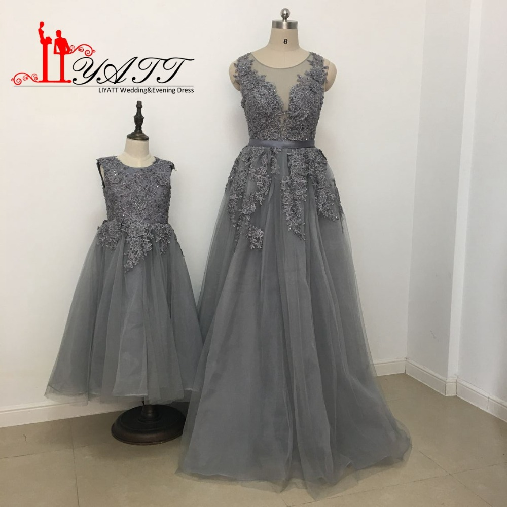 Mom And Daughter Match Formal Evening Dresses with 3D Flowers Sheer ...