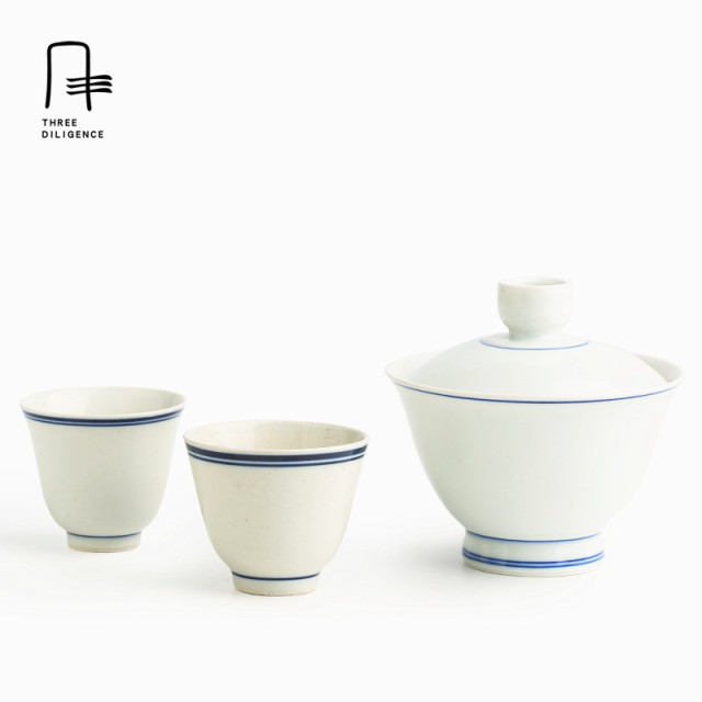 3pcs per set 1 Gaiwan 2 tea cups  mini tea sets Jingdezhen porcelain travel cup ceramic Sets oolong chip cup bone china