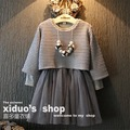 new 2015 autumn winter girl clothing set knitted sweater+lace dress girls clothes outfits suit 2~7 age children dress sets