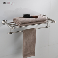 Stainless Steel Towel Rack Bathroom Shelves Towel Rack Holder Wall Towel Shelf Bathroom Shelf Holder Hanger Towel Rail Bar
