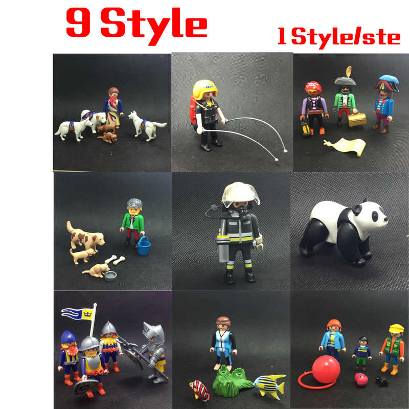 9 Style Playmobil Large Zoo Children's Zoo Asian Animal Enclosure Police Station Playset Action Figure Kids Gift Toys
