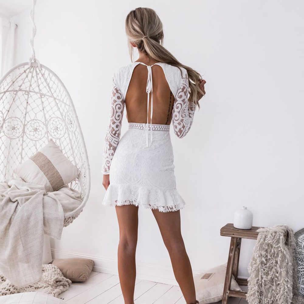 Sexy femmes blanc dentelle robe nouveau 2018 hiver col roulé à manches longues rouge noir Club usine moulante Bandage Midi robes de soirée