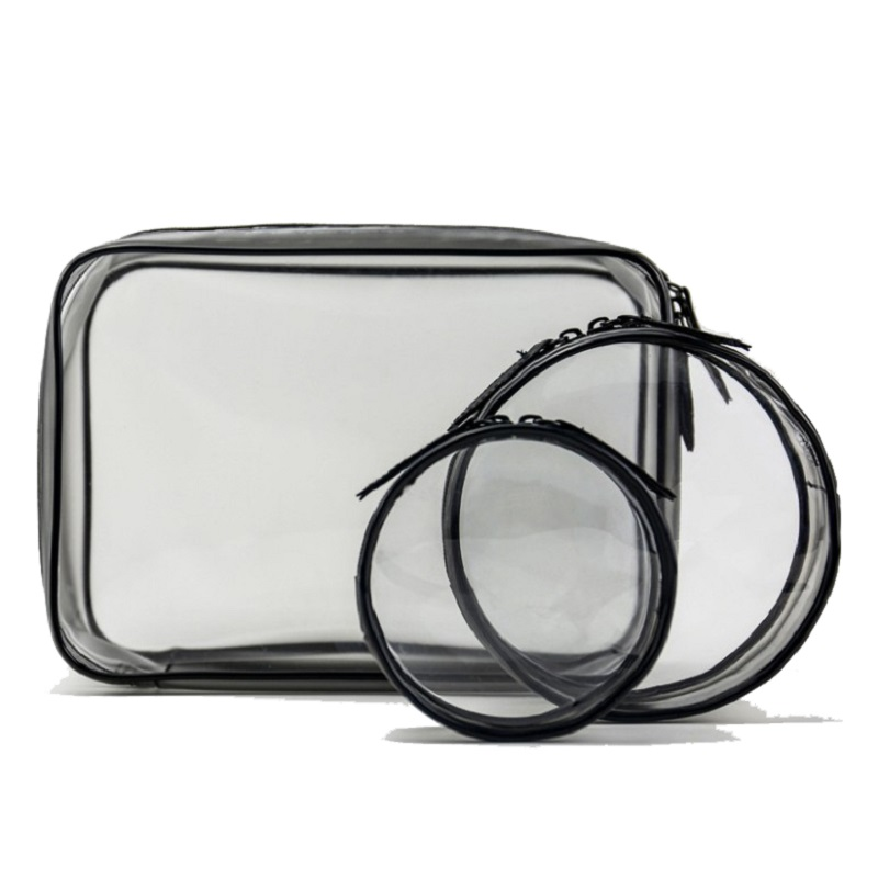 Transparent Cosmetic Bag Varieties Sizes Girl Makeup Bags  Zipper Pouch Clear; Large,Medium,Small,Mini; Circle, Square,