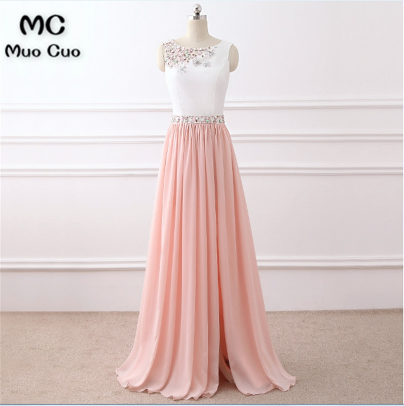 2018 Beaded   Prom     dresses   Long Draped Chiffon Women's   dress   for graduation Zipper Back Tank Sleeveless Long Formal Party Gowns