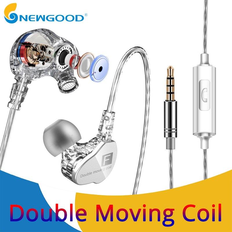 En el oído auriculares de deporte Dual driver auriculares con micrófono gaming auriculares conductores dinámicos auriculares con cable auricular para teléfono estéreo mic