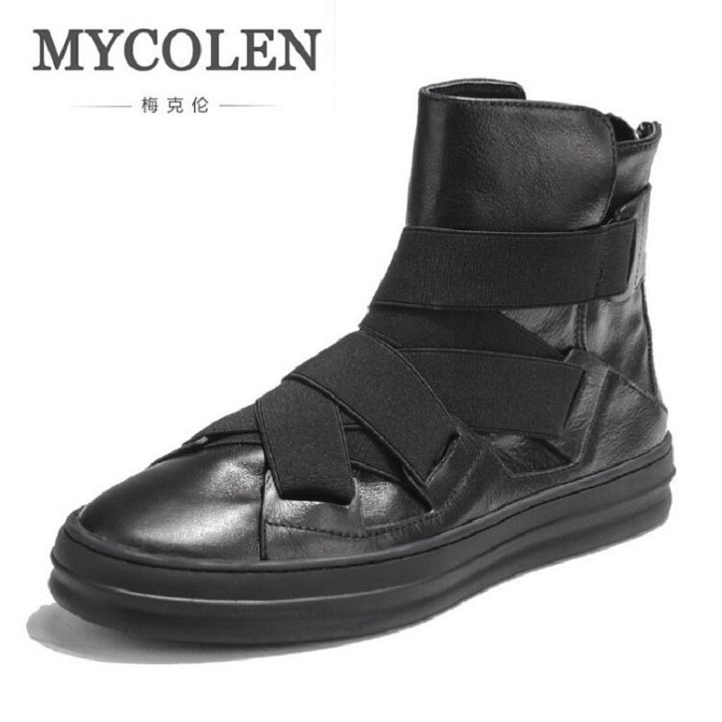 MYCOLEN Brand Ankle Snow Boots Men Shoes Genuine Leather Winter Fashion Cow Motocycle Casual Boot Male High-Top Flat Botas