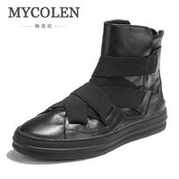 MYCOLEN Brand Ankle Snow Boots Men Shoes Genuine Leather Winter Fashion Cow Motocycle Casual Boot Male
