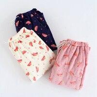 Womens Flannel Pajama Pants Thicken Warm Pyjama Bottoms Women Sleep Wear Winter Womens Pyjamas Pants Watermelon Lounge Pants