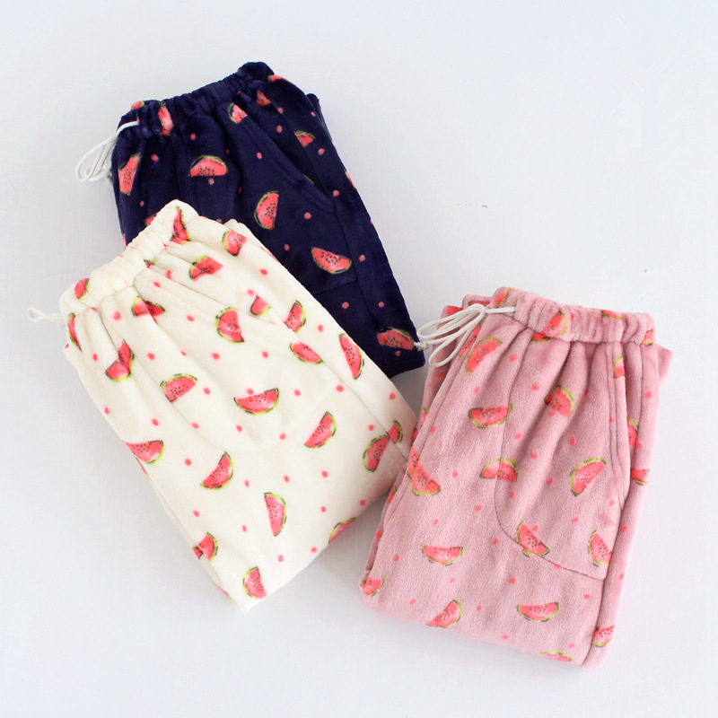 Womens Flannel Pajama Pants Thicken Warm Pyjama Bottoms Women Sleep Wear Winter Womens Pyjamas Pants Watermelon Lounge Pants