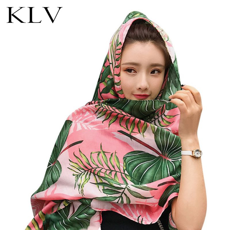 Womens Ethnic Holiday Wind   Scarf   Colored Tropical Leaf Floral Print Large Shawl Multi-Use Bikini Cover Up With Tassels