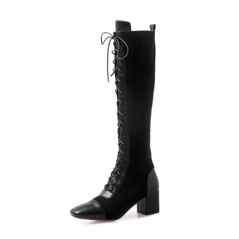 MORAZORA 2019 inek deri diz yüksek çizmeler kadın kare ayak lace up moda çizmeler yüksek topuklu sonbahar çizmeler zarif elbise ayakkabı