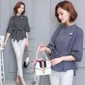 New fashion work wear office tops blouses 2017 women's stand collar fifth sleeve stripe shirt bow slim waist basic shirt Blusas