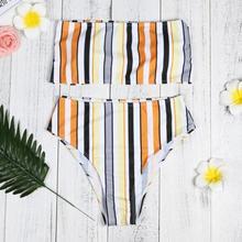 HOT Women Bikini Set Swimwear Push-Up Padded Stripe Wrapped Chest Bra Swimsuit Beachwear Women's Swimsuits Sexy Cross Swimwears
