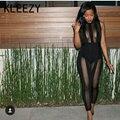 2016 Women Bodycon  Black Lace Rompers Bodysuit Female Transparent Mesh  Rompers Bandage  Jumpsuit Combinaison Femme H2218