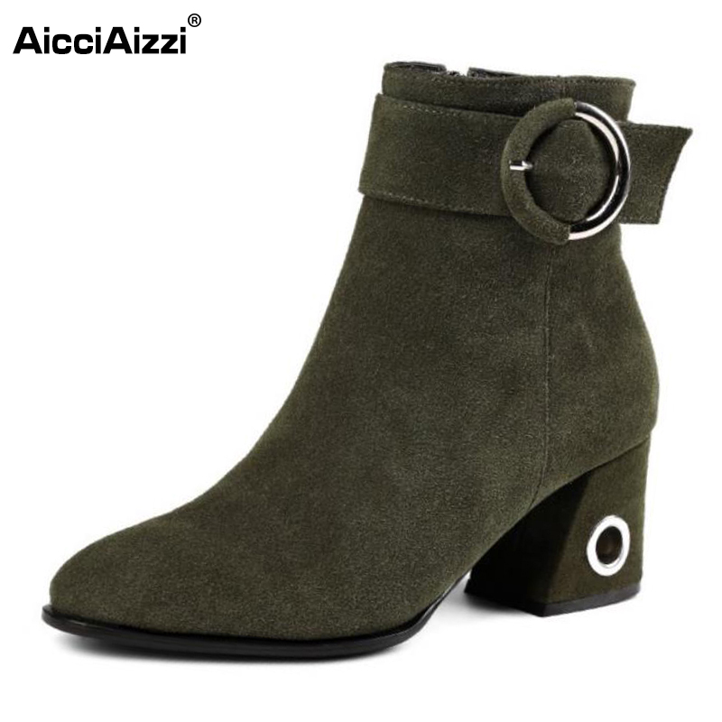 AicciAizzi Office Lady Genuine Leather High Heel Boots Women Zipper Pointed Toe Thick Heels Boot Sexy Party Club Shoe Size 34-39 new genuine leather superstar solid thick heel zipper gladiator women pumps pointed toe office lady nude runway casual shoes l88