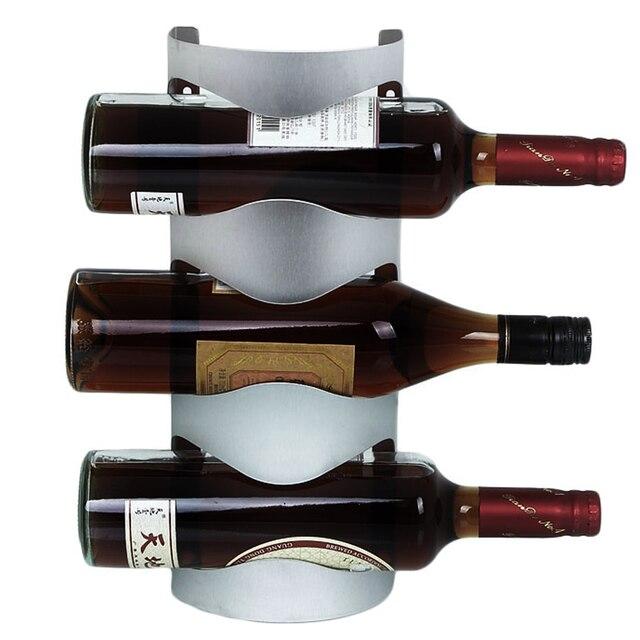 3 / 4 Bottles Stainless Steel Wine Rack Wall Mount Bar Decor Wine ...
