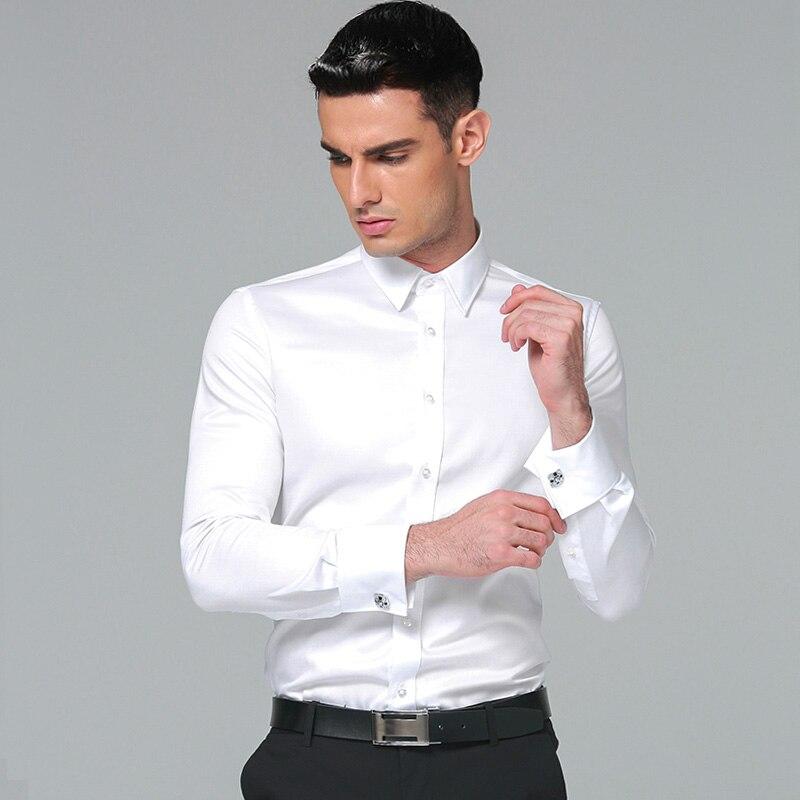 172907fd7c9 Camisa de vestir para hombre de algodón 2018 marcas nuevas camisas de manga  larga de negocios camisas de Color sólido - a.gunasai.me