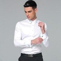 Men S Dress Shirt 100 Cotton 2016 Brands New Slim Fit Cufflink Shirts Business Long Sleeve
