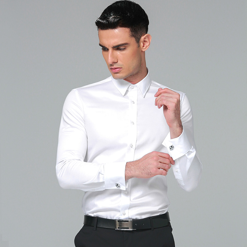 Men's Dress Shirt Cotton 2018 Brands New Regular Fit Cufflink Shirts Business Long Sleeve Business Suits Shirts Solid Color