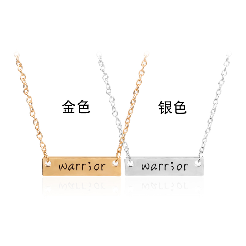 Dog tag Warrior letter necklaces gold silver plated warr or necklace Simple sqare lover jewelry gift for girlfriend boyfriend