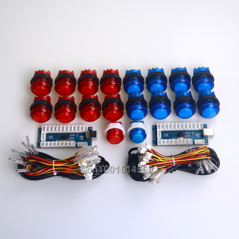 Easyget Arcade Games MAME DIY Kits Part PC LED Encoders Board + 18 x 5V LED Illuminated Buttons Cables For Raspberry Pi Project
