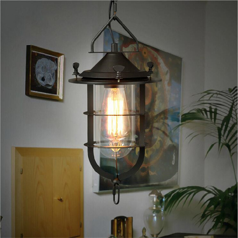 ФОТО Vintage Lamp Industrial Loft Pendant Light E27 Edison Bulb Iron Retro Body Glass Shade AC  Pendant Lamp For Cafe Bar Decoration