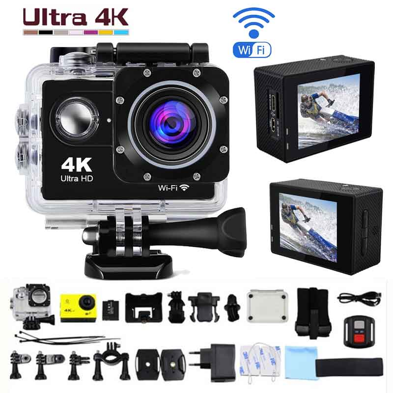 Ultra HD 4K Action Camera WiFi 2.0 170Degree 30m Go Underwater Waterproof Pro Helmet Cam Camera Remote Sport Cam image