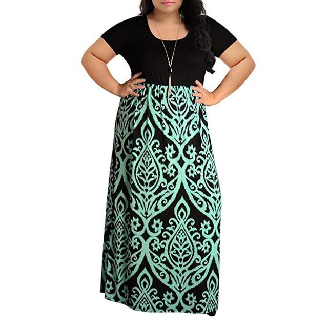 7f3caff10619 New Women s Chevron Print Summer Short Sleeve Plus Size Casual Long Maxi  Dress Wholesale Drop Shipping