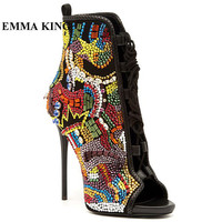 EMMA KING Gorgeous Rhinestone Studded Ankle Boots Luxury Crystal Sandals Boot Open Toe Gladiator Short Women Boot 2020