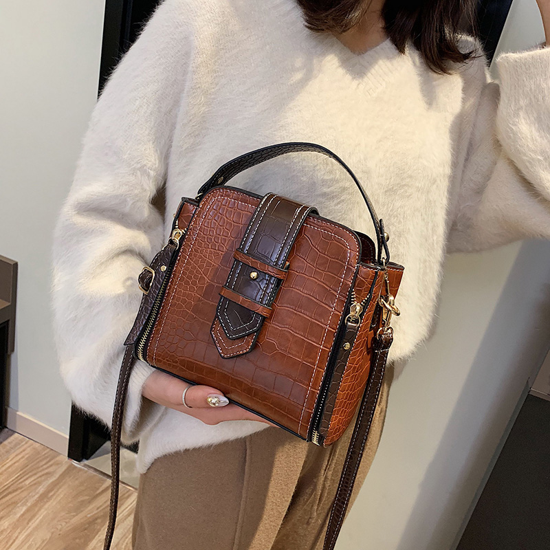 Crocodile Bucket Bag For Women 2019 Fashion Small Crossbody Bags Zippers Decoration PU Leather Shoulder Bag Handbags and Purses-in Shoulder Bags from Luggage & Bags