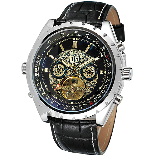 все цены на 2018 Top Brand Luxury WINNER Men Automatic Mechanical Watch Tourbillion Design Working Sub-dials Calendar Multi-function Watch онлайн