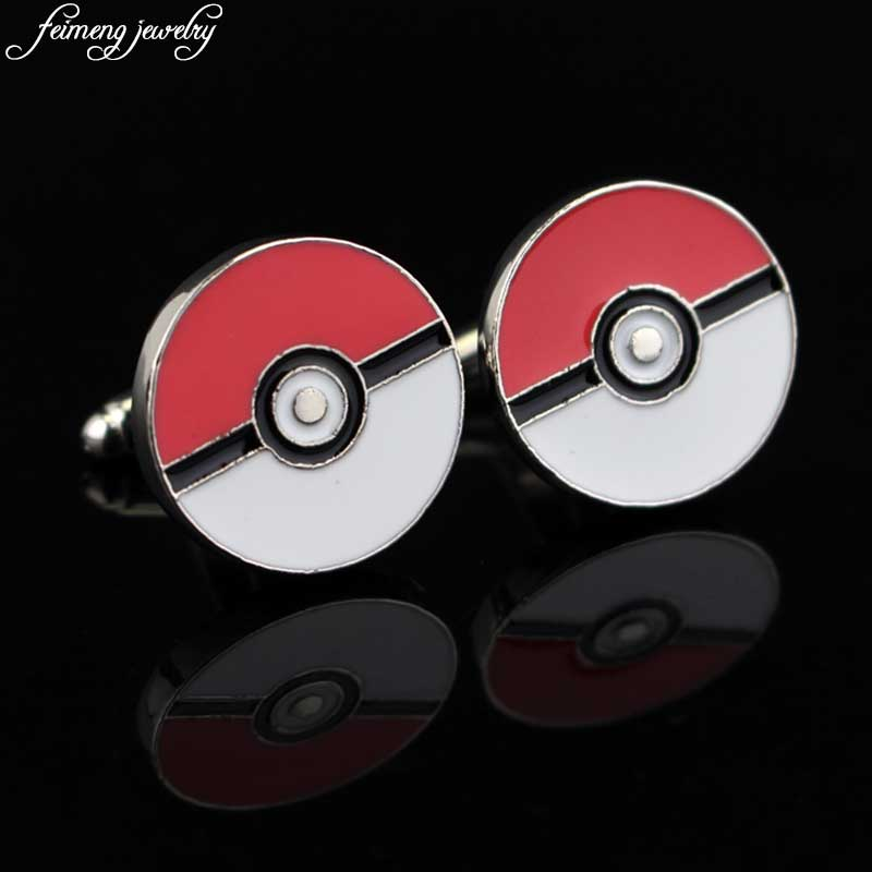 Classic Pokemon Go Cufflinks Charm Poke Ball Red and White Enamel Cuff Links for Mens Wedding Shirts Pokemon Game Jewelry