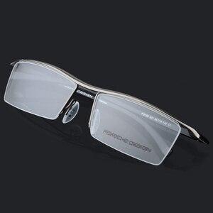 Image 2 - Armação de óculos masculina, armação de titânio, meia armação ótica, vintage, 2017