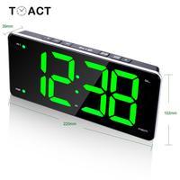 LED Radio Alarm Clock FM Electronic Table Alarm Clocks Desk Digital Large LED Mirror Watch Office Bedroom Decor Gift For Elder