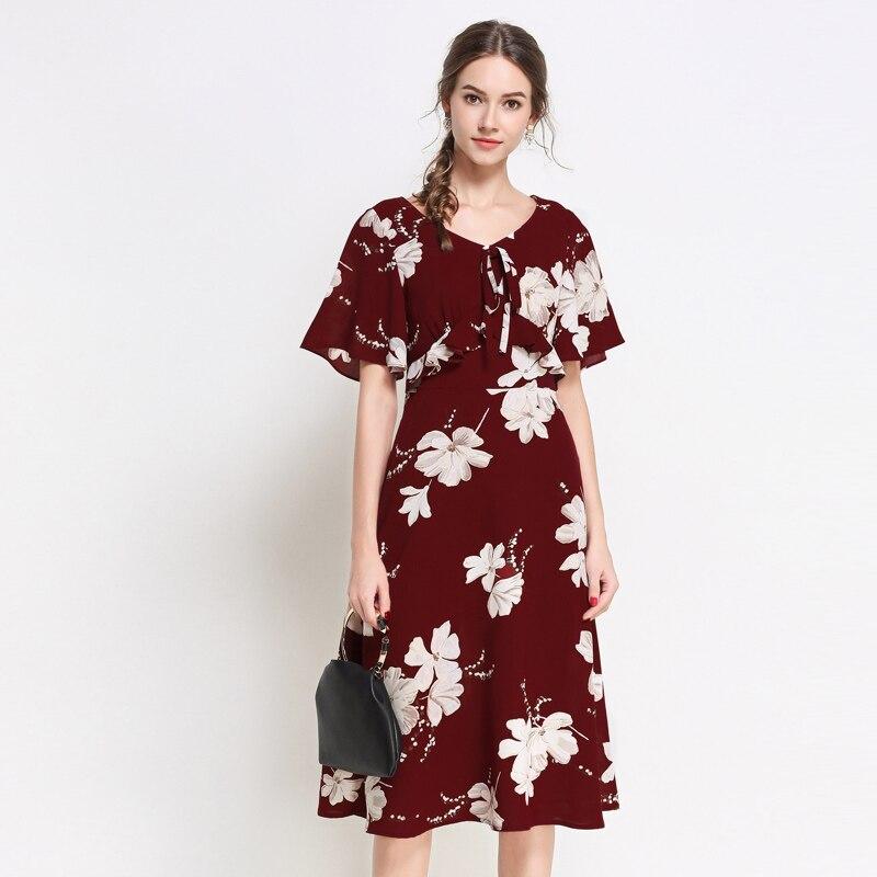 ad4dc1b47c020b Soie Red Mousseline Élégant Rouge Plage De Robes Travail Fleur Taille Robe  Floral Mode Surdimensionné Femmes D'impression Plus ...