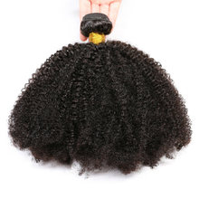 Mongolian Afro Kinky Curly Hair Weave 3/4 Bundles 100% Natural Black Remy Human Hair Bundles Extension No Tangle Double Weft(China)