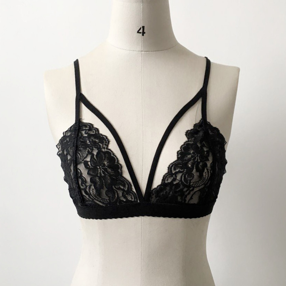 Women Lace Bra Tops Hollow Strappy Push Up Bra Cage Crop Top Bustier Vest GO
