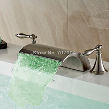 New Arrive 3 pcs Deck Mounted LED 3 Colors Basin Faucet Dual Handles Brushed Nickel LED
