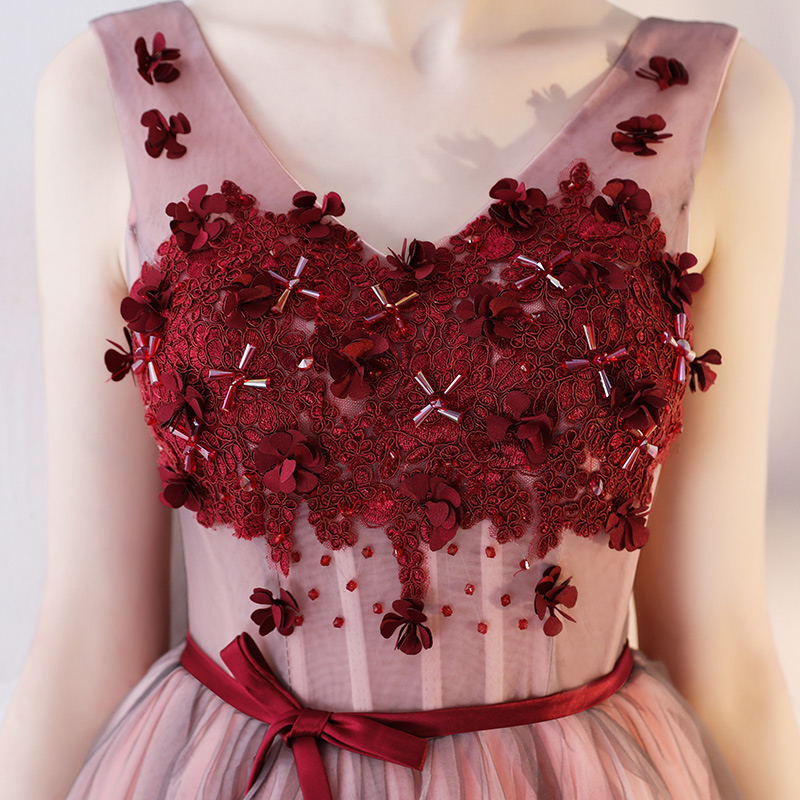 9e1e758227 Prom Dress Modern Wine Red V Neck Sleeveless Lace Up Back Vesta De Festa A Line  Flowers Crystal Sweet Party Cocktail Dress-in Cocktail Dresses from  Weddings ...