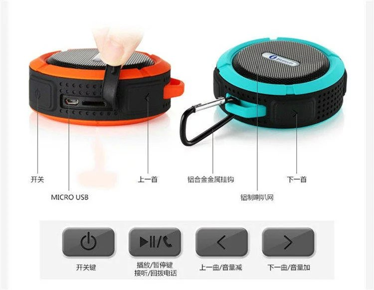 Proofրամեկուսիչ Bluetooth 3.0 բարձրախոս դյուրակիր արտաքին անլար մինի բարձրախոսներով բարձրախոսներ `iPhone- ի Samsung SPC6- ի կուտակման բաժակով: