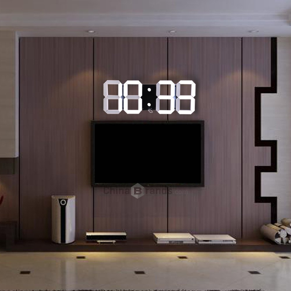 Multi Use Big Led Digital Wall Clock Remote Control Led Is Adjustable Alarm Stopwatch Thermometer Countdown