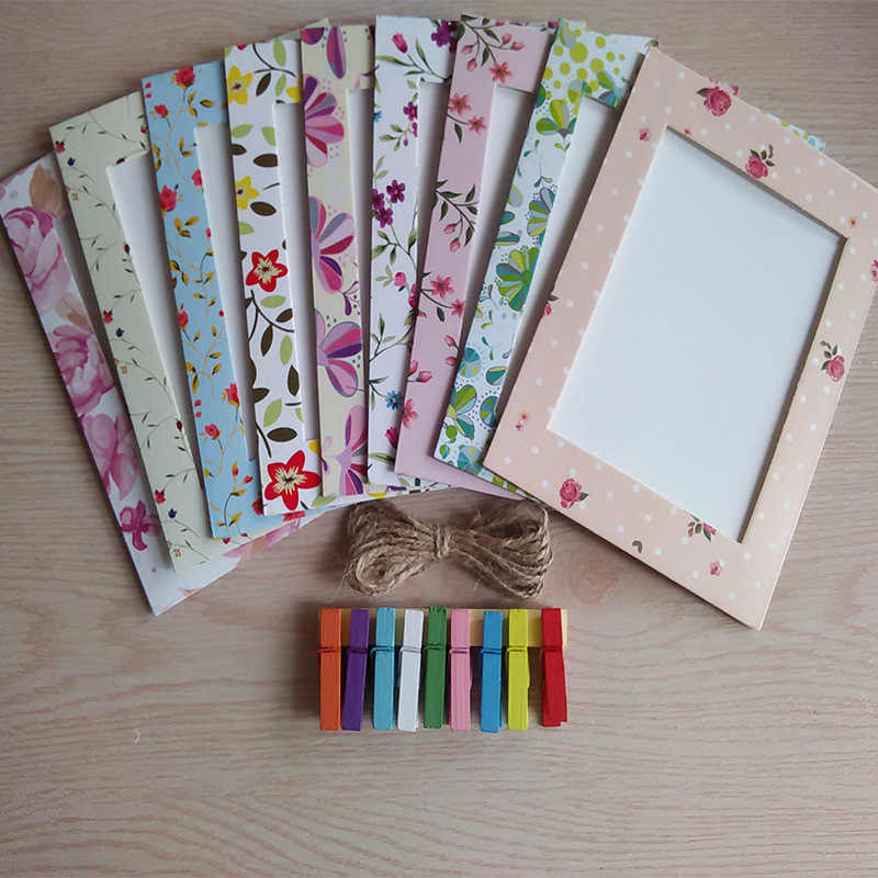 9pcs/set Photo Frame 6 Inch Creative Gift DIY Wall Hanging Paper Photo Frame Wall Picture Album