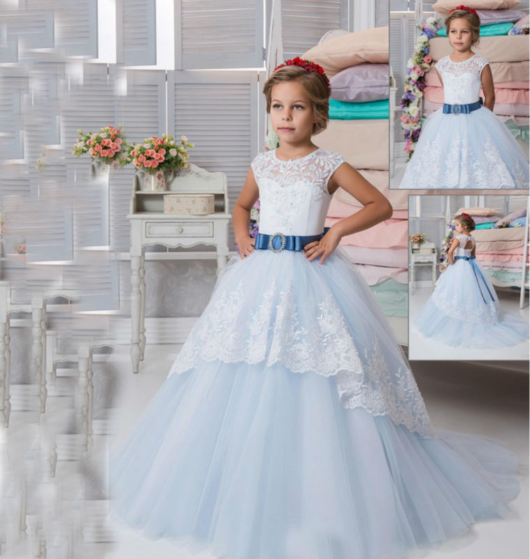 Mermaid Flower Girl Dresses for Wedding Ankle-Length Mother Daughter Wedding Dresses Ball Gown First Communion Dresses for Girls 2017 new flower girls dresses for wedding gown ball gown vintage communion dresses ankle length mother daughter dresses with bow