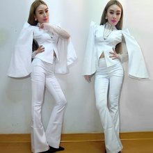 New Female Singer Ds Costume Nightclub Bar Dj Stage Performance Clothing Guest Hosted White Bell-bottom Suit DJ Rave Outfit(China)