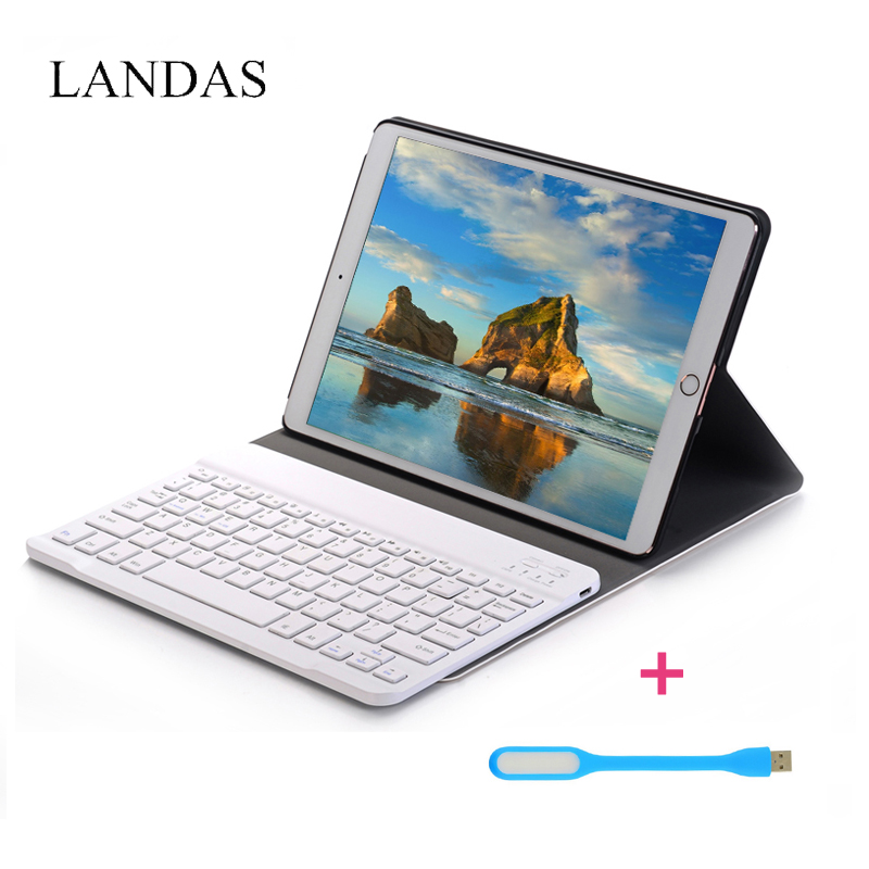Landas Wireless Bluetooth Keyboard Case For iPad 10.5 Cover Stand Leather Case With Wireless Keyboard For Ipad Pro 10.5 Tablets cover case for apple pro cover 12 9 with wireless bluetooth keyboard for ipad pro case flip stand pu leather cover free shipping