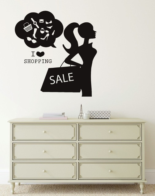 Wall decal i love shopping fashion women clothing store vinyl stickers