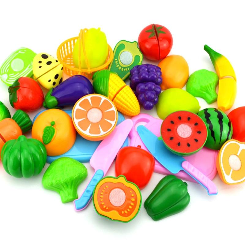 Hot Sale Children Diy Pretend Play Kitchen Toys Sets Fruit Safety Plastic Vegetables Kitchen Baby Classic Kids Educational Toys