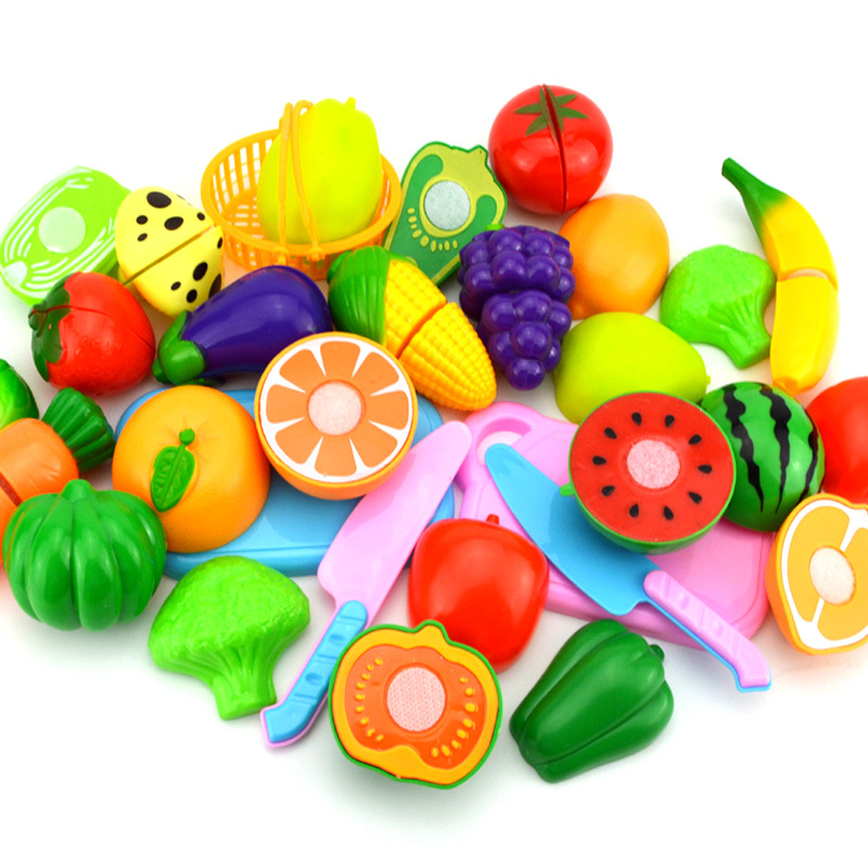 Hot Sale Children DIY Pretend Play Kitchen Toys Sets Fruit Safety Plastic Vegetables Kitchen Baby Classic Kids Educational Toys