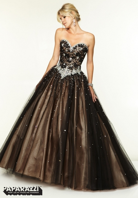 Latest Design Ball Gown Prom Dress 2015 Sweetheart Top Lace Bling ...